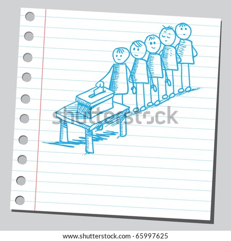 Sketch style vector illustration of a people voting - stock vector