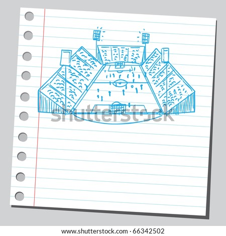 Sketch style vector illustration of a soccer game