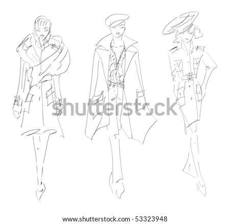 SKETCH. The vector beautiful girl on a white background