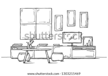 Sketch the wall under the TV. Vector illustration