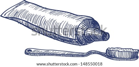 Sketch Toothpaste And Brush Stock Vector Illustration 148550018 ...