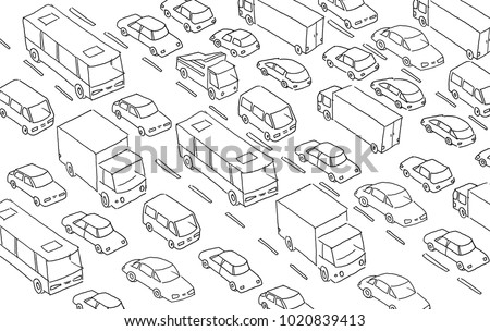 Sketch traffic jam car plug transport highway. Hand drawn black line