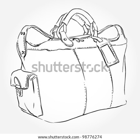 Sketch travel bag - stock vector