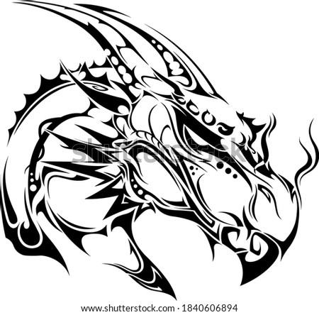 sketch tribal dragon head