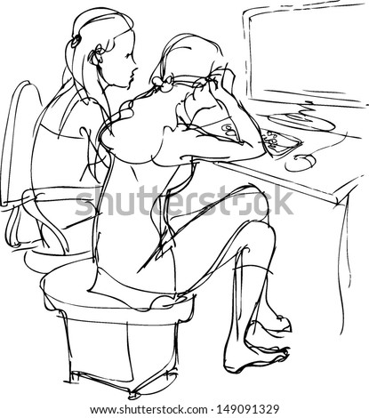 sketch two girls are at a table with a computer