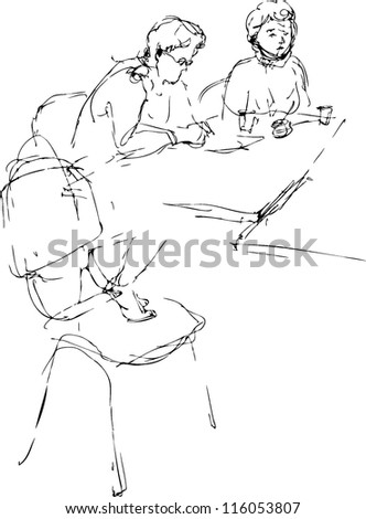sketch two women at the table in an office work