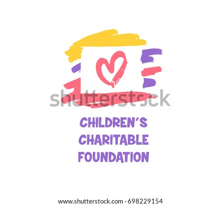 Sketch vector illustration. Template logo with red heart for children charitable foundation.