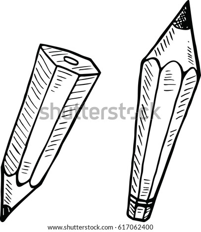 Sketch vector of pencil in doodle style