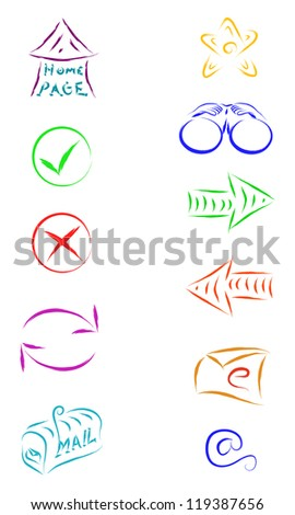 sketch vector of web internet icons