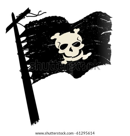 Sketch with pirate flag over white background