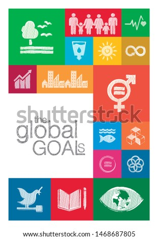 Sketch work of the Sustainable Development Goals. Collection of 17 global goals set by the United Nations General Assembly.