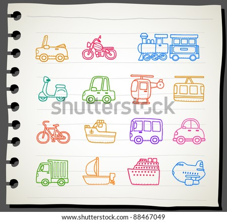 Sketchbook  series |  car,transportation,vehicle icon set