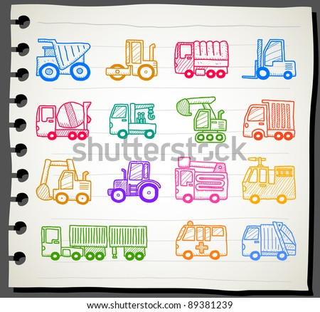 Sketchbook series | cars,transportation, automobile, work machine icon set