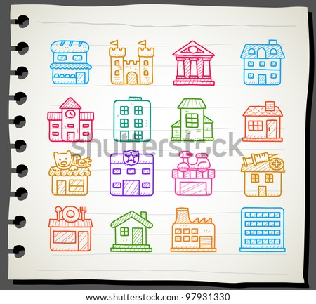 Sketchbook series | hand drawn houses, buildings,store ,travel icons,