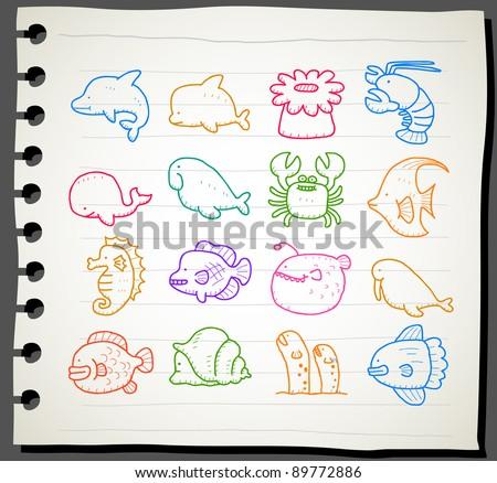 Sketchbook series | sea creatures,animals icon set