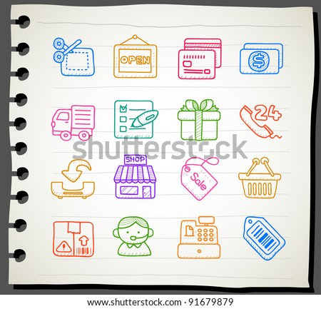 Sketchbook series | shopping,business,office,internet icon set