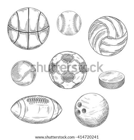 sketched balls for soccer or
