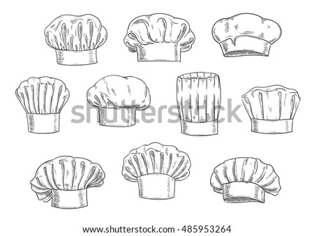 Sketched chef hat, cook cap and toque. Kitchen staff uniform, professional headwear for restaurant, cafe and menu design Foto stock ©