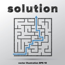 Sketched concept of finding solution in complicated maze.
