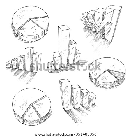 Sketched 3d charts and graphs with different bar graphs and pie charts, with shadows or reflections. For business, management and development concept design usage. Sketch style