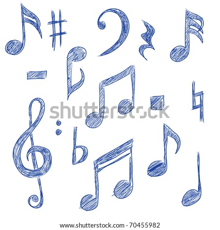 Sketched drawings of musical symbols (vector)