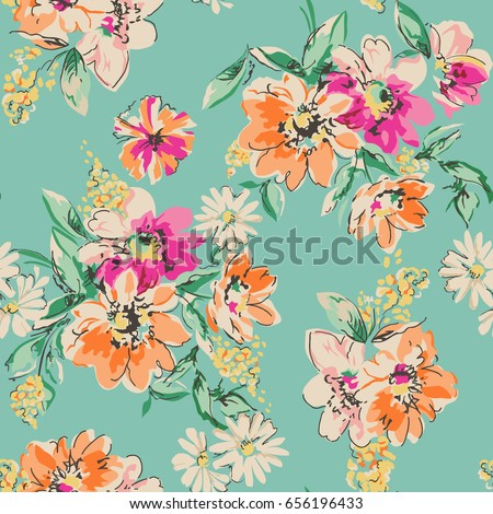 stock-vector-sketched-flower-print-in-bright-colors-seamless-background