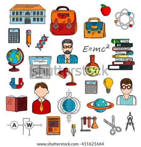 sketches of books  calculators
