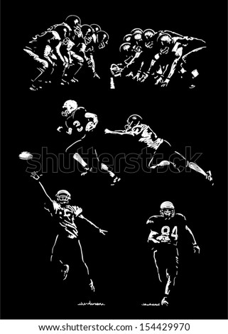 Sketches of football players Hand drawings lights and shadows style