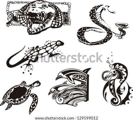 Sketches of reptiles and sea animals. Vector set.