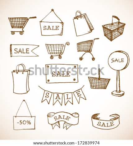 sketches of shopping objects...