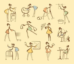 Sketches of silhouettes of girls