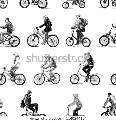 Sketches of the different urban dwellers biking