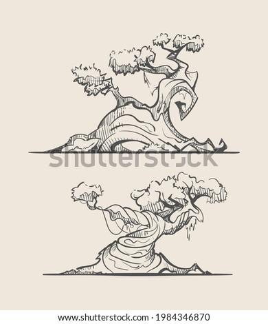 Sketches of unusual fantasy trees