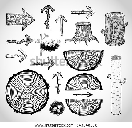 Stock Photo Sketches of wood cuts, logs, stump and wooden arrows isolated on white background