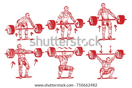 sketches weightlifter push and pull the bar