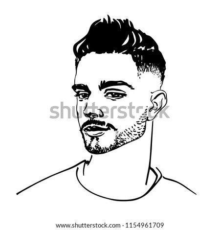 Sketching handsome arabian young man. Hand drawn fashion illustration. Portrait of attractive boy on white background