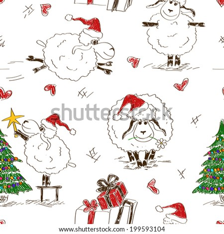 Sketching seamless pattern of funny New Year sheeps