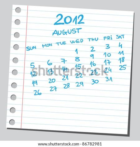 Sketchy 2012 calendar (august)