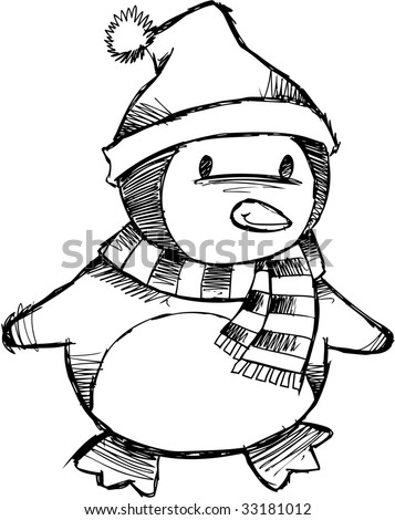 Sketchy Christmas Penguin Vector Illustration