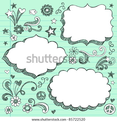 Sketchy 3-D Shaped Ornate Comic Book Style Speech Bubble Frames- Hand Drawn Notebook Doodles Design Elements on Lined Paper Background- Vector Illustration