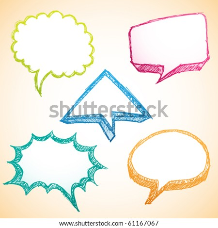 sketchy / doodle colorful speech bubble