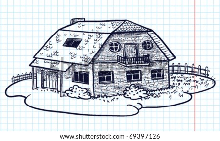 Sketchy Doodle Hand Drawn House Cottage