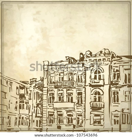 Sketchy drawing of historical building in grunge background. My own artwork.