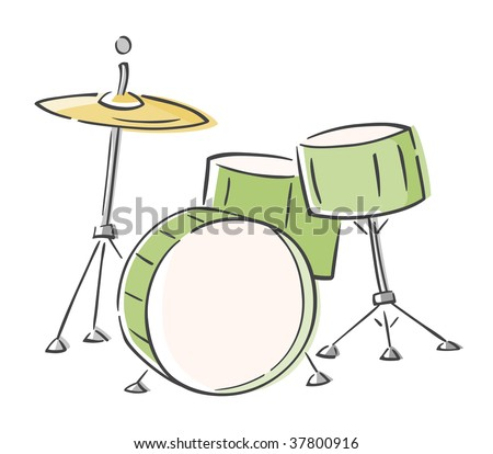 Drum Set Outline Cartoon Drum Set Clipart