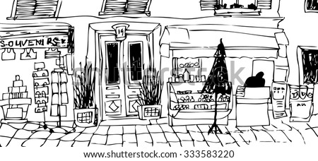 Sketchy Freehand Black Ink Pen Drawing Landscape Paris Street France View Of Small