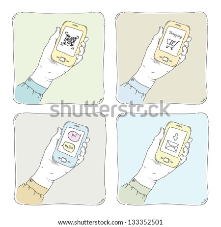 Sketchy hand drawn vector illustrations of using smartphone in typical situation, QR code scanning, internet shopping, sending messages and mail communication. Isolated on white.
