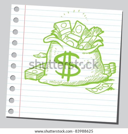 Sketchy illustration of a bag full of money