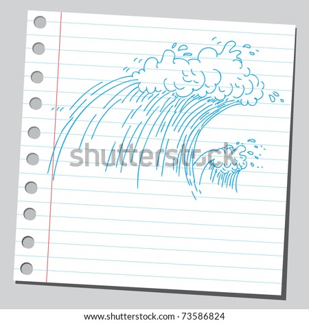 Sketchy illustration of a big wave