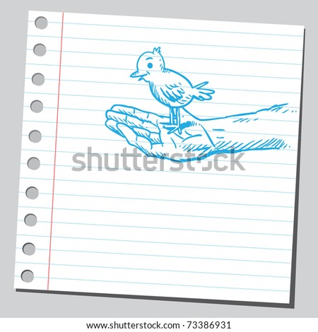 Sketchy illustration of a  bird on a hand - stock vector