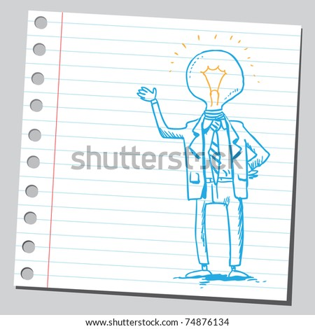 Sketchy illustration of a bizarre lightbulb man